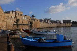 Akko vissershaven, Israël, bootjes, zee